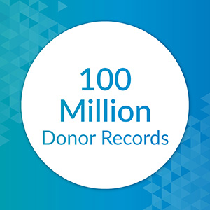DonorSearch uses 100 million donor records in their charitable giving database.