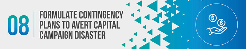 Formulate contingency plans to avert capital campaign disaster.