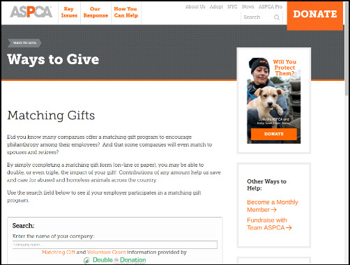Promote matching gifts on your nonprofit's website.
