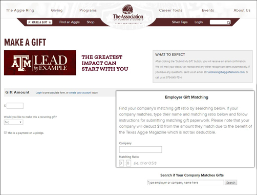 Promote matching gifts on a donation page!