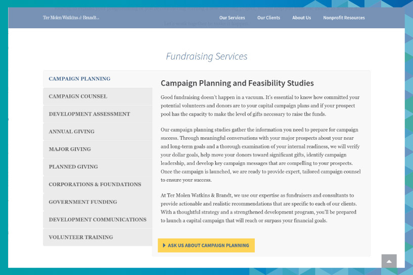 Ter Molen Watkins and Brandt is a fundraising consulting firm that can help nonprofits with strategic planning.