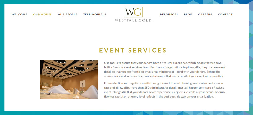 Westfall Gold is a fundraising consulting firm that specializes in nonprofit event management.