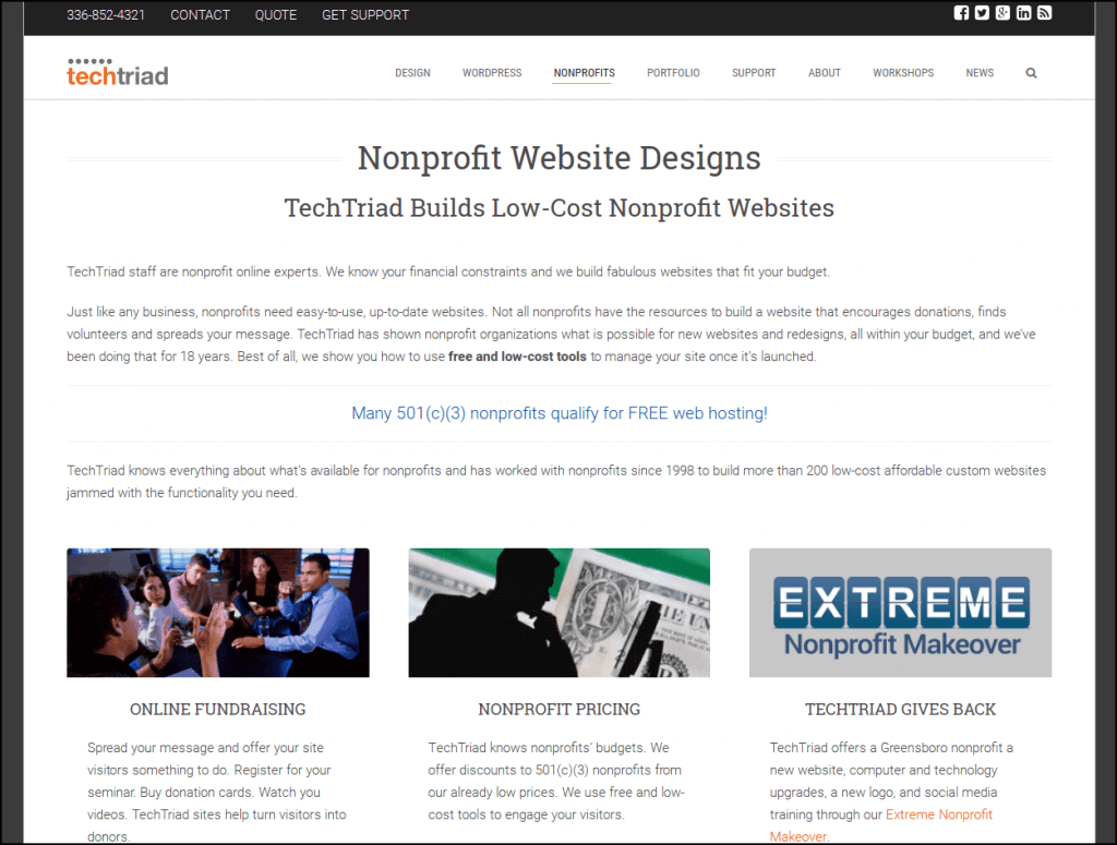 Work with TechTriad to build out your nonprofit website.