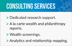 Helen Brown provides fundraising consultant services such as wealth screenings.