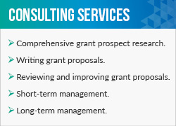The fundraising consultants at Grants Plus offer these comprehensive services for grant seeking.