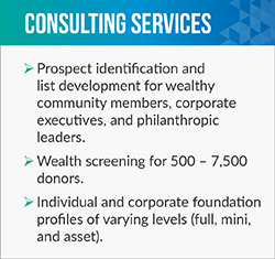 Margaret King provides extensive fundraising consultant services.