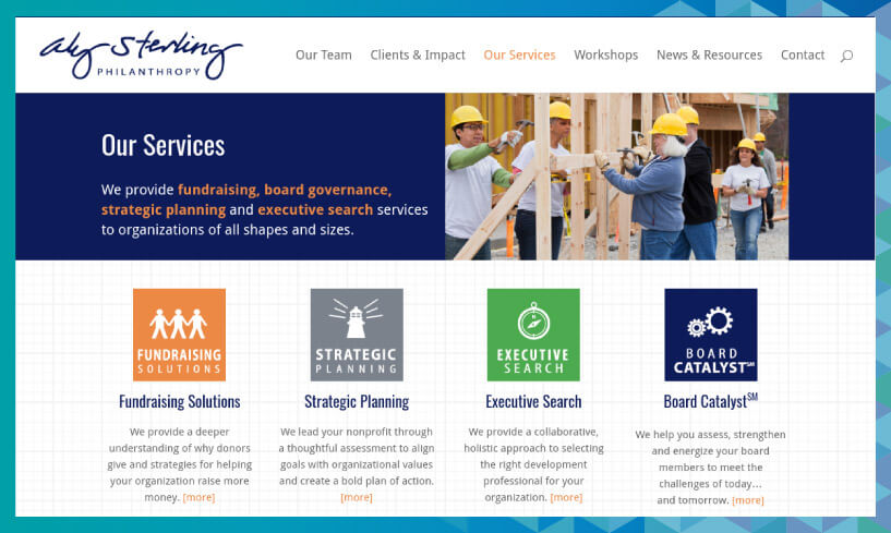 Aly Sterling has a whole list of nonprofit services that her consulting firm provides.