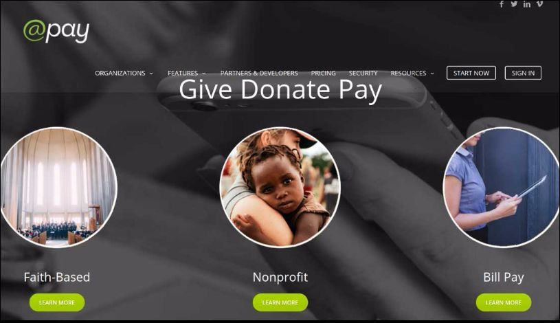 Accept online donations with @Pay's online giving tool.