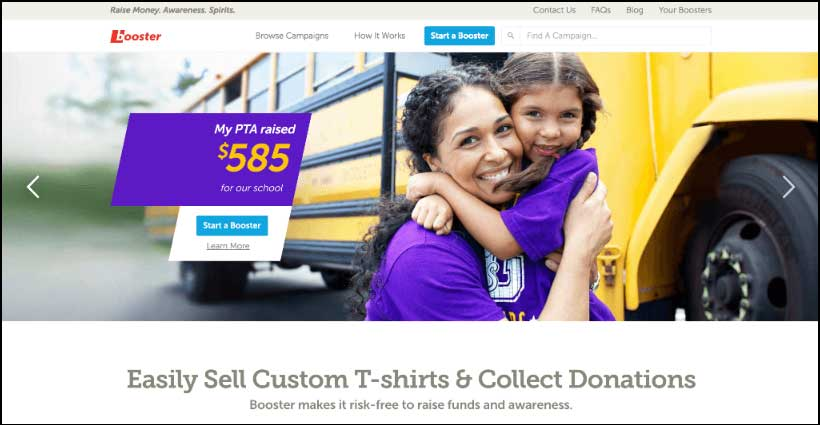 Learn more about how Booster's online giving platform allows you to sell custom t-shirts.