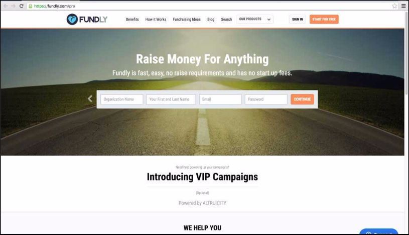 Fundly Pro provides online donation forms for nonprofits.
