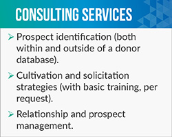 Jennifer Filla provides extensive fundraising consultant services.