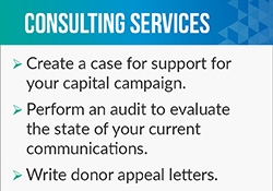 Tom Ahern provides fundraising consultant services such as writing donor appeal letters.