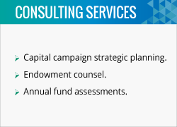 David King and the fundraising consultants at Alexander Haas provide services in capital campaign planning and annual fund assessments.