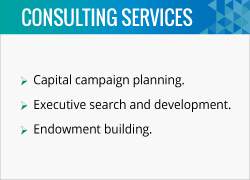 Steve is a fundraising consultant that helps organizations with capital campaign planning and endowment building.