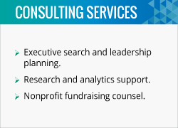 Don Souhrada is a fundraising consultant that can help organizations with fundraising counsel.