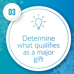 Determine what qualifies as a major gift.