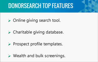 DonorSearch higher education fundraising software top features.