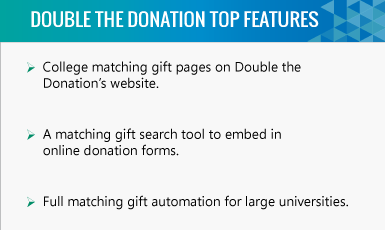Double the Donation higher education fundraising software top features.