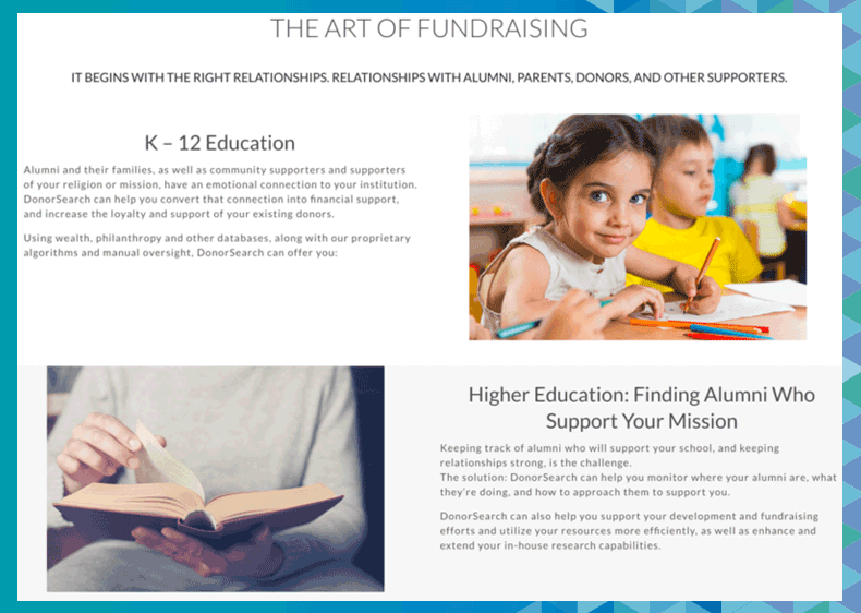 Learn more about DonorSearch's higher education fundraising software.