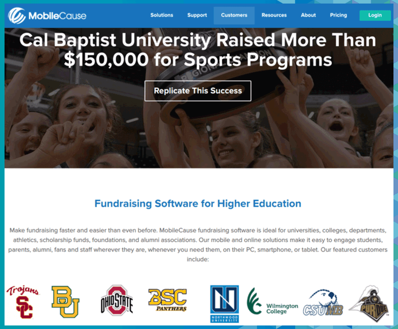 Learn more about MobileCause's higher education fundraising software.