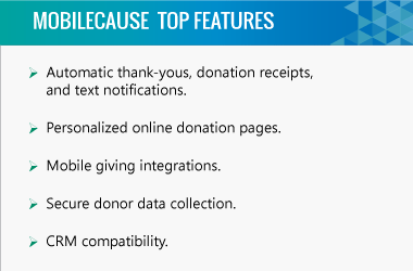 MobileCause higher education fundraising software top features.