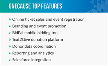OneCause's higher education fundraising software comes with several features for nonprofits.