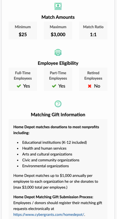 This example shows The Home Depot's matching gift guidelines for university fundraising.