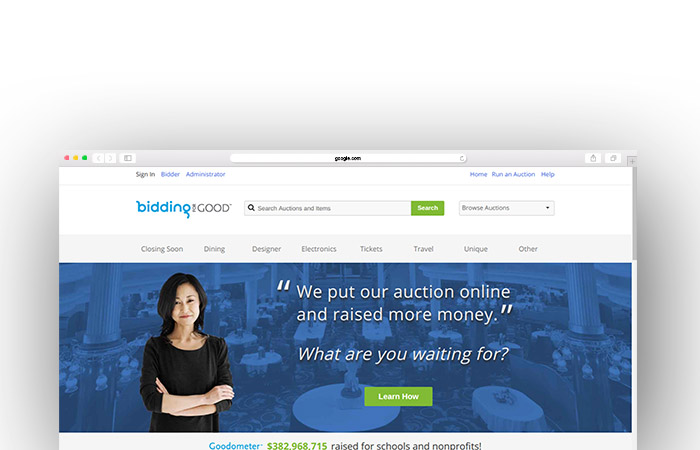 Check out BiddingForGood's charity auction website.