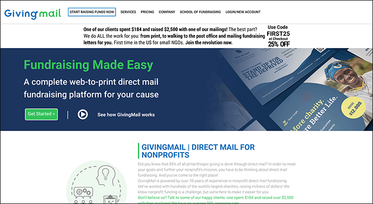 GivingMail is one of our favorite online silent auction software choices for communication and marketing.