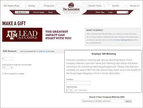 Nonprofits can place matching gift information or a matching gift tool on your online donation forms to encourage matching gifts.