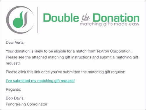 Nonprofits can provide more in-depth information on matching gifts through regular emails to donors.