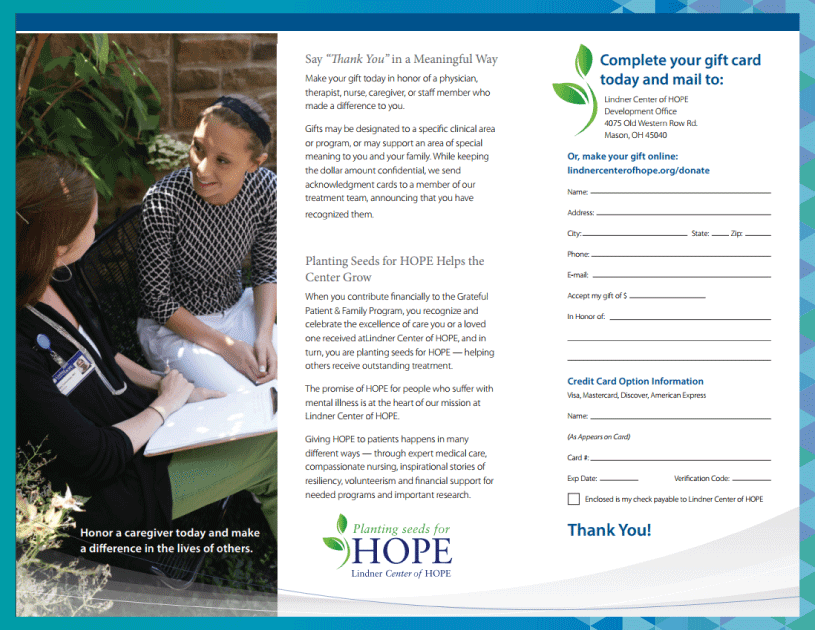 The Linder Center of Hope grateful patient program brochure.