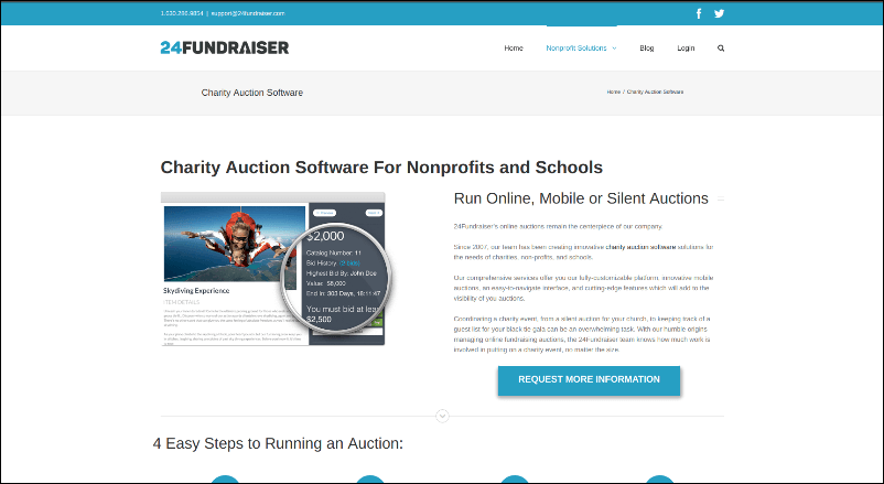 24Fundraiser's online silent auction software can help your nonprofit get organized for your next event.