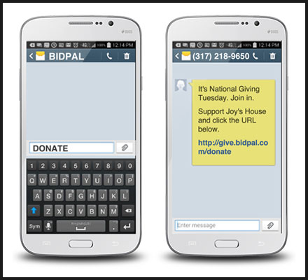 To give with BidPal's text-to-donate service, donors must text a keyword to the nonprofit's 5-digit number.