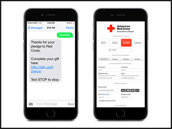 When donors use MobileCause's text-to-donate service, they will be directed to a mobile donation form.