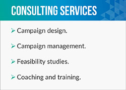 Engage Casey Woodard Consulting for campaign design and management.