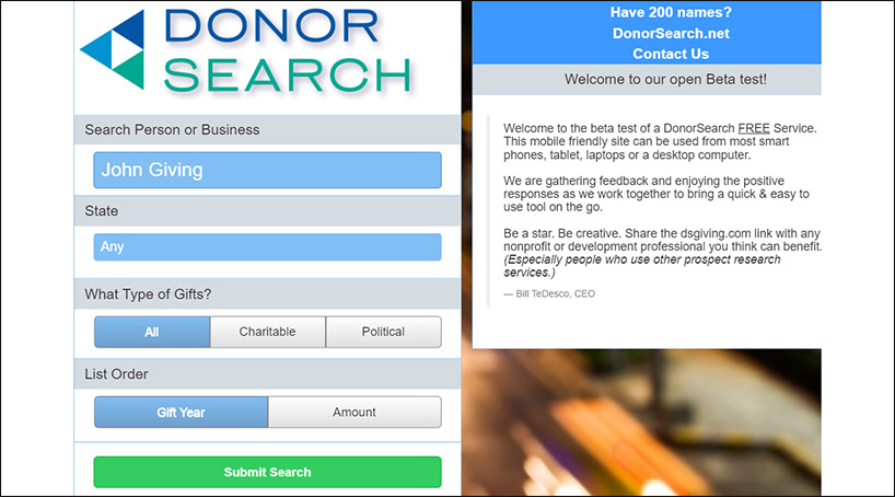 Try out DonorSearch's free online tool.