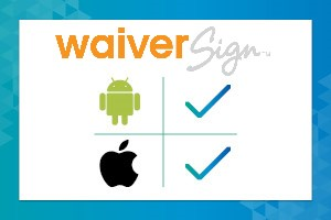 WaiverSign's online waiver app is available with both IOS and Android devices with the right kiosk app.