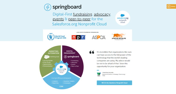 Demo Springboard to see this nonprofit Salesforce app in action.