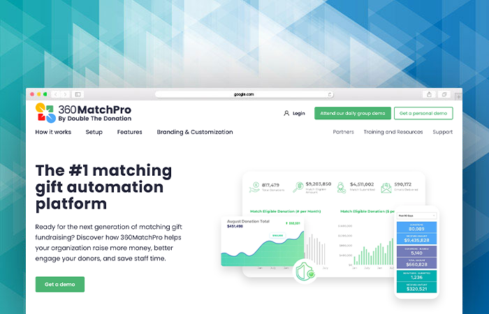 360MatchPro is a robust matching gifts software for nonprofits.
