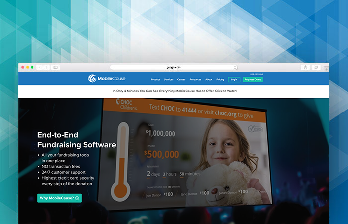 MobileCause's website can tell you more about their fundraising software.