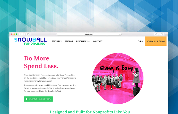 Snowball fundraising's website can tell you more about their fundraising software.