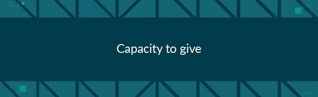Giving capacity is someone's financial ability to give to a cause.