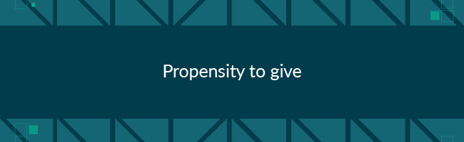 Giving propensity is a good measurement of how likely someone is to give to any cause.