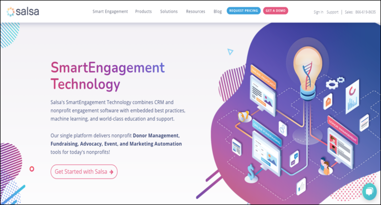 Check out SalsaEngage's app for Salesforce.